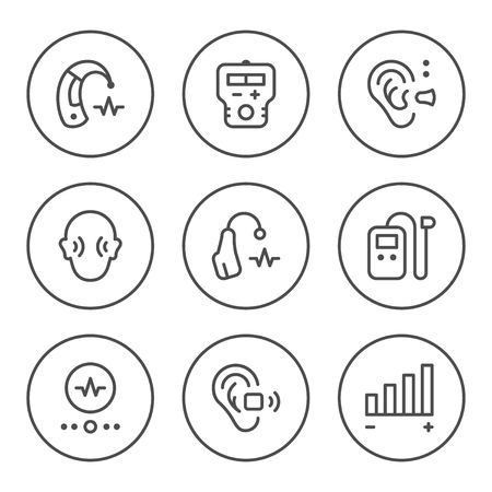 Set round line icons of hearing aid