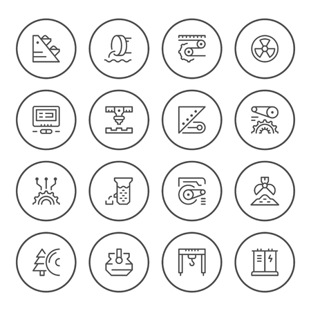 Set round line icons of industry
