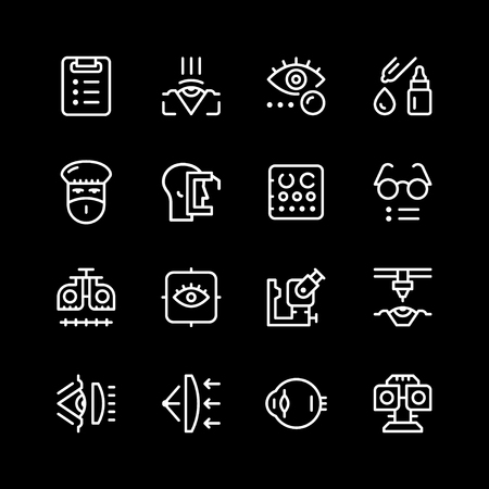 Set line ophthalmology concept icons.