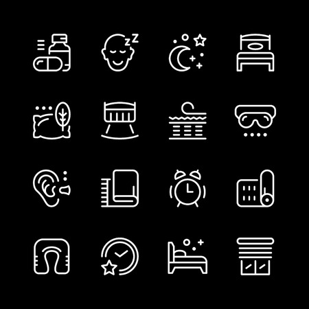 Set line icons of sleep Stock Vector - 89288464