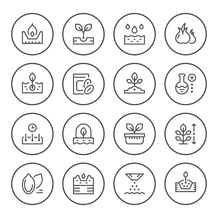 Set round line icons of seed and seedling. Illustration