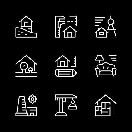 Set line icons of architectural Stock Photo