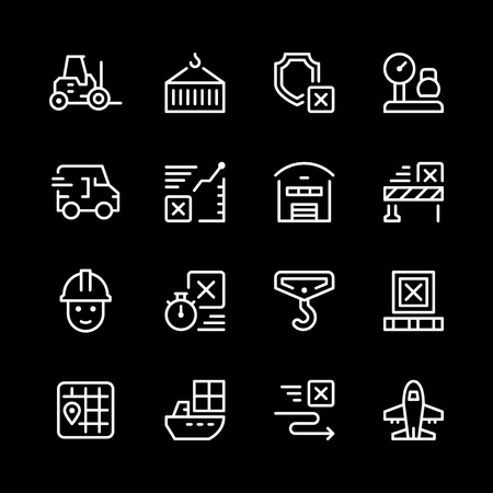 Set of white line illustration icons of logistics on black page
