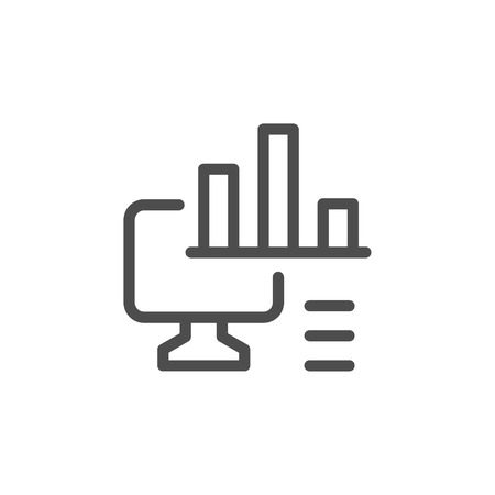 Computer analytics line icon
