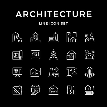 Set line icons of architecture isolated on black. Vector illustration