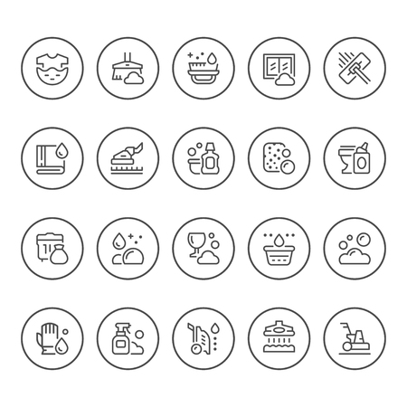 Set round line icons of cleaning isolated on white. Vector illustration Illustration