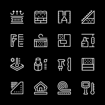 Set of line insulation vector icons