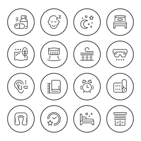 Set round line icons of sleep isolated on white. Vector illustration