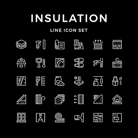 Set line icons of insulation.