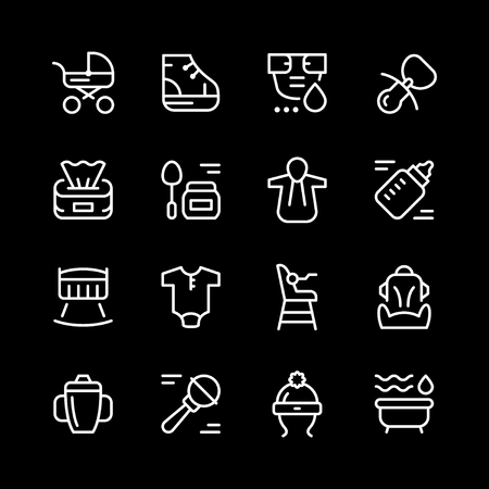 Set line icons of newborn.