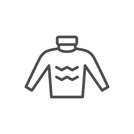 Sweater line icon isolated on white. Vector illustration
