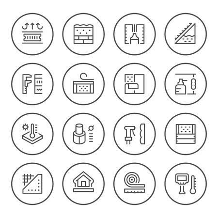 Set round line icons of insulation on white background illustration.
