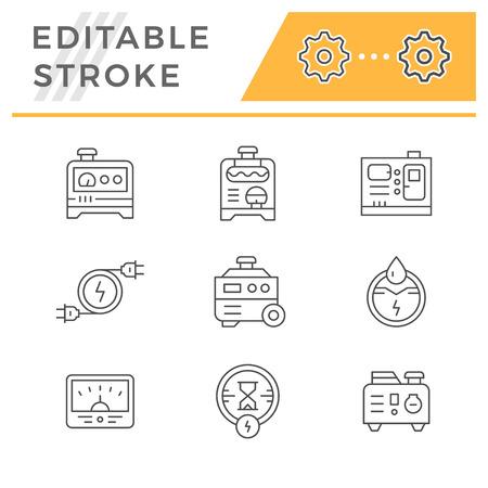 Set line icons of electrical generator on white background illustration.