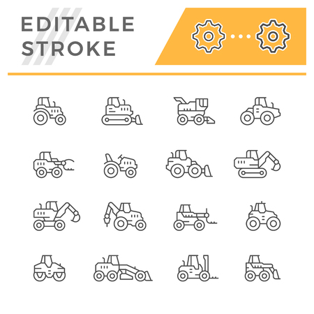 Set line icons of tractors, farm and buildings machines, construction vehicles isolated on white. Editable stroke. Vector illustration Vettoriali