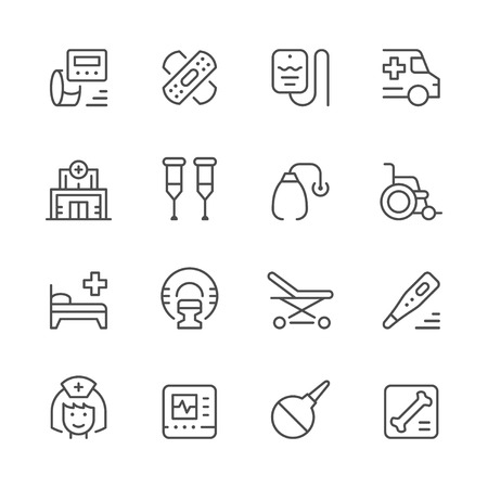 Set of medical icons illustration on white background.