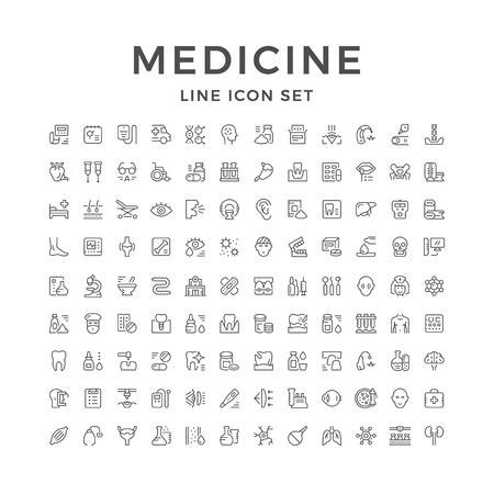 Set line icons of medicine