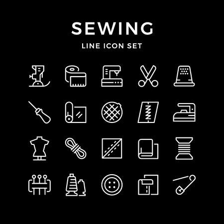 Set line icons of sewing