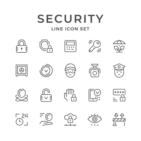 Set line icons of security Çizim