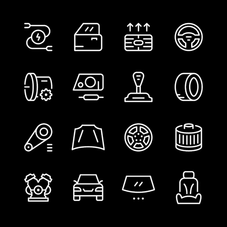 Set of car related line icons Illustration