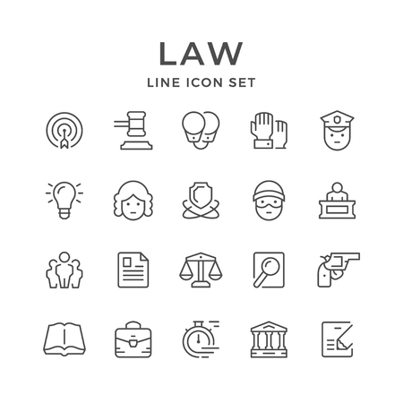 Set line icons of law isolated on plain background.