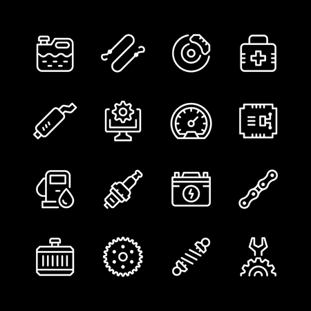 Set of car related line icons vector illustration.