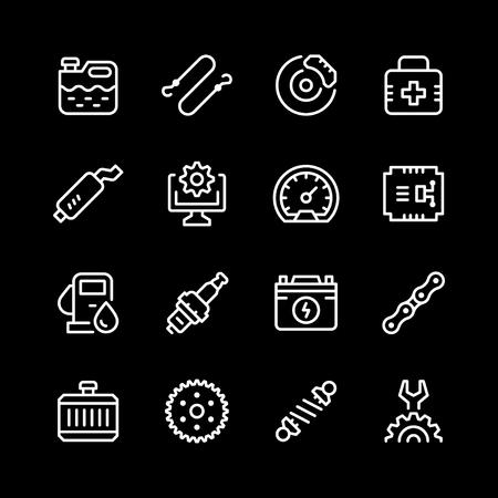 Set van auto gerelateerde lijn iconen vector illustratie. Stockfoto - 96447494
