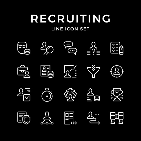 Set line icons of recruiting. Illustration