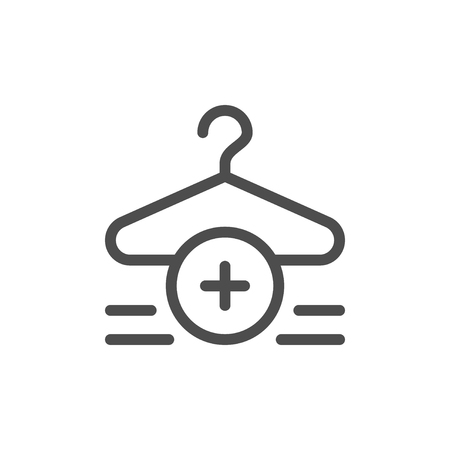 Clothes buying line icon with hanger and add icon Ilustrace
