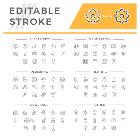 Set line icons of house systems Illustration