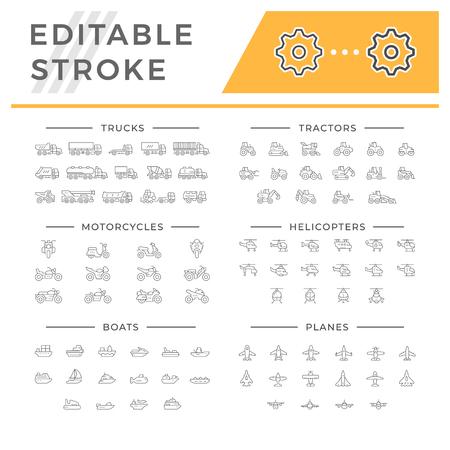 icônes de ligne set d & # 39 ; illustration de transport sur fond blanc