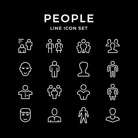 Set line icons of people  イラスト・ベクター素材