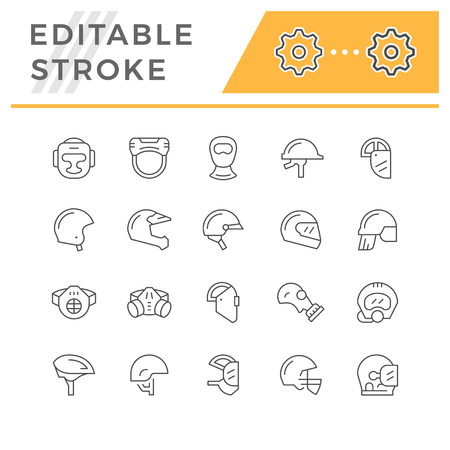 Set line icons of helmets and masks