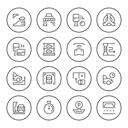Set round line icons of parking isolated on a white background. Illustration