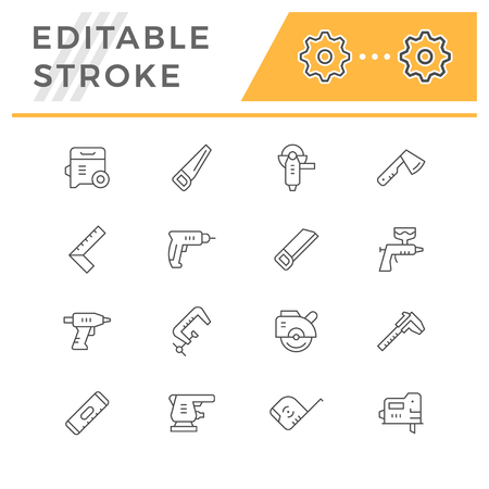 Set line icons of electric and hand tool isolated on a white background.