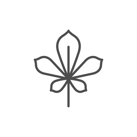 Chestnut leaf line icon isolated on a white background.