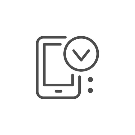 Mobile approving line icon Illustration