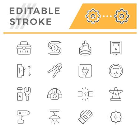 Set line icons of electricity Ilustração