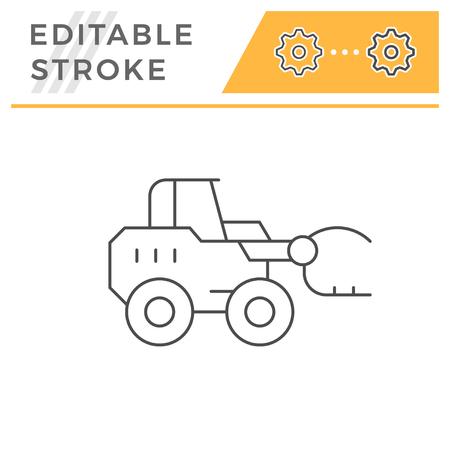 Hay loader tractor line icon Иллюстрация
