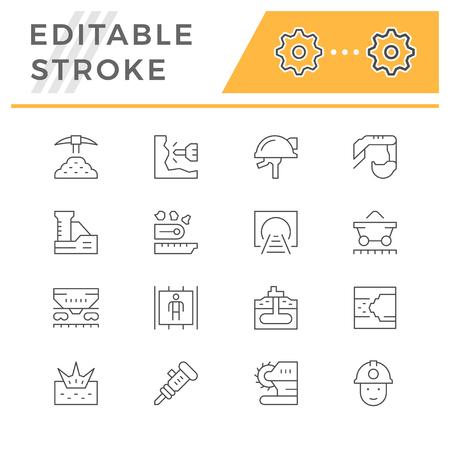 Stel lijn iconen van mijnbouw Stockfoto - 104766000