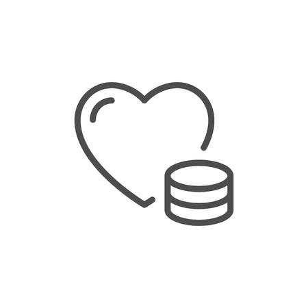 Donation line icon isolated on white. Vector illustration Illustration