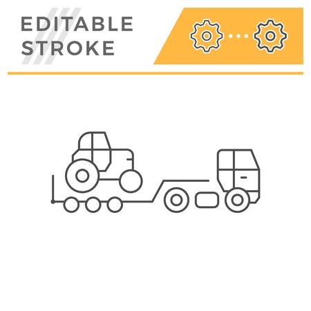 Truck trailer line icon