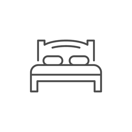 Bed line icon isolated on white. Vector illustration
