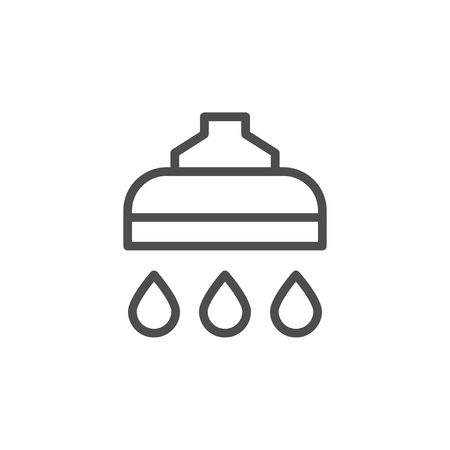 Shower line icon isolated on white. Vector illustration