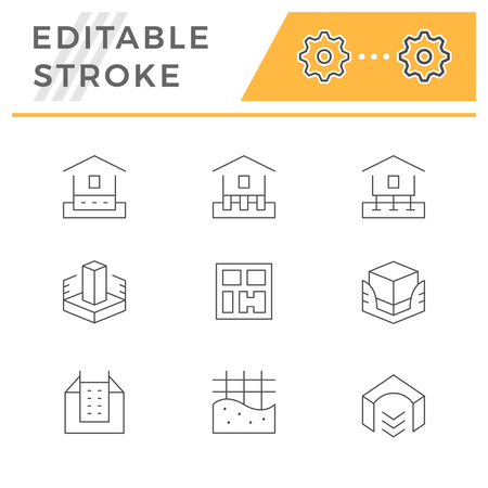 Set line icons of house foundation isolated on white. Editable stroke. Vector illustration