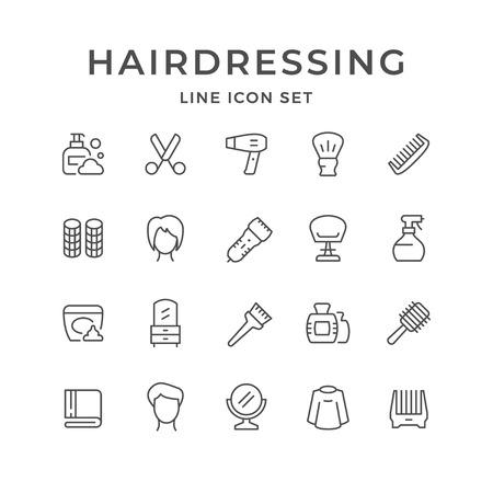 Impostare le icone delle linee di parrucchiere isolate su bianco. Illustrazione vettoriale Vettoriali