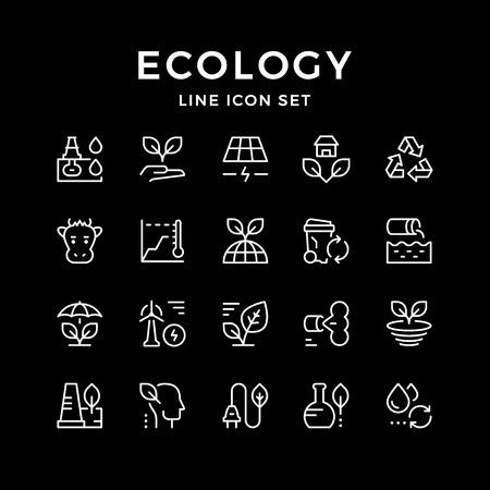 Impostare le icone delle linee di ecologia isolate sul nero. Illustrazione vettoriale