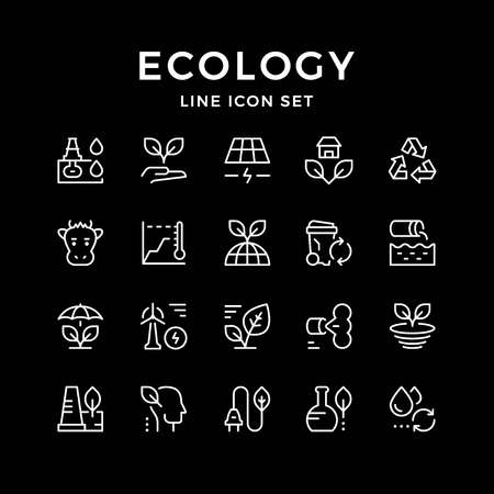 Set line icons of ecology isolated on black. Vector illustration