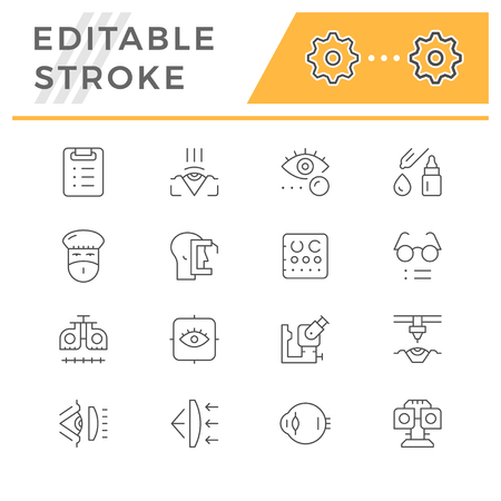 Set line icons of ophthalmology isolated on white. Editable stroke. Vector illustration