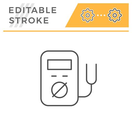 Electronic multimeter line icon isolated on white. Editable stroke. Vector illustration Illustration