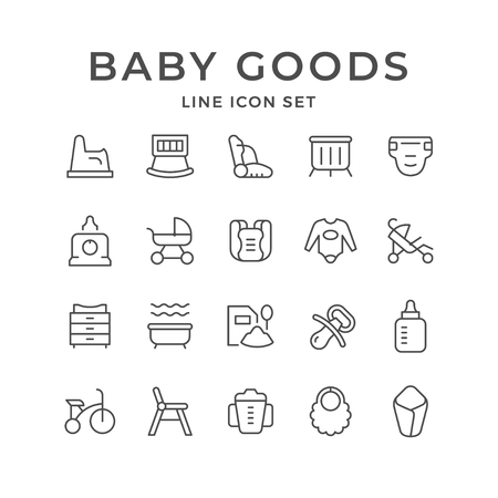 Set line icons of baby goods isolated on white. Vector illustration